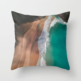 Secret Turquoise Beach With Clear Water & Sienna Sand Throw Pillow