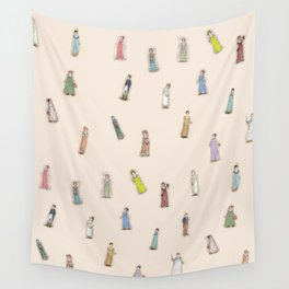Jane Austen characters - Peach Wall Tapestry