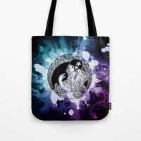 roller derby Tote Bags featuring Nouveau Roller Derby World by Mean Streak