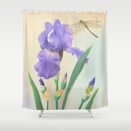 Wild Iris and Dragonfly Shower Curtain