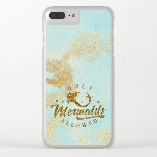 Only Mermaids allowed - Gold glitter lettering on aqua glittering  backround Clear iPhone Case