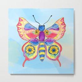 Sunflower Butterfly Metal Print