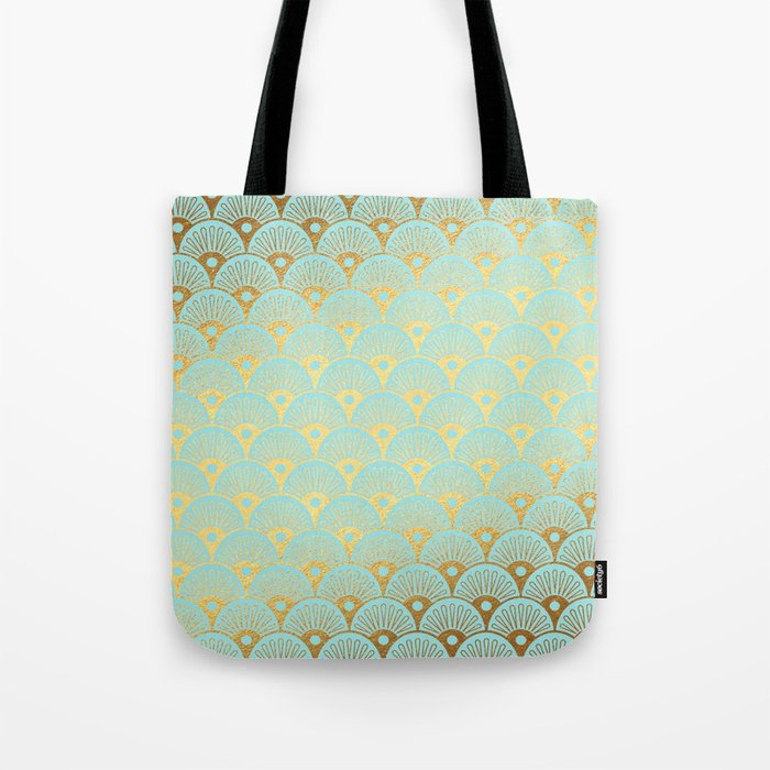 Art Deco Mermaid Scales Pattern on aqua turquoise with Gold foil effect Tote Bag