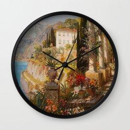 Amalfi Coast Campania, Italy Garden Terrace Vineyard and Flowers landscape seaside painting Wall Clock