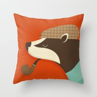 country Throw Pillows featuring Country Badger by Zara Picken