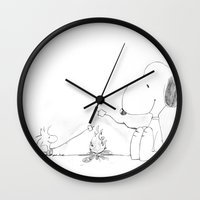 snoopy Wall Clocks featuring Snoopy and Woodstock by Dennis Rios