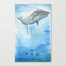 Ama - Whale mom and calf song Canvas Print