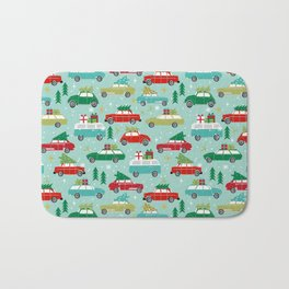 Christmas car tradition christmas trees holiday pattern winter festive Bath Mat