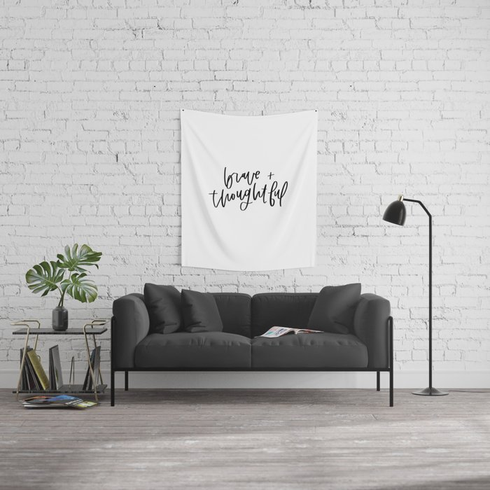 Brave and Thoughtful in Black and White Wall Tapestry