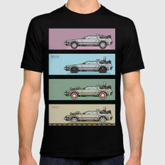 Back to the Future - Delorean x 4 Black LARGE Mens Fitted Tee
