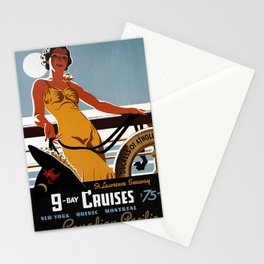 old poster 9 day cruises Stationery Cards