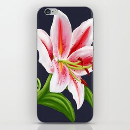 Pink and White Watermelon Lily Print Hand drawn original art iPhone Skin