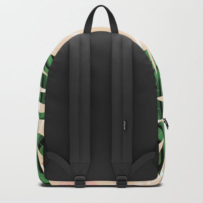 Monstera on beige background. Backpack