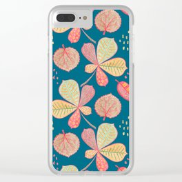Yellow Autumn Leaves On Blue, Botanical Crayon Drawing Clear iPhone Case