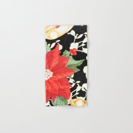 Vintage red green bright christmas floral Hand & Bath Towel