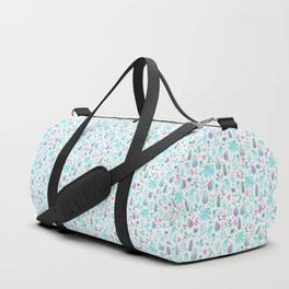 Cyan and Pink Leaf on White. Tropical Floral Doodles Spring Pattern Duffle Bag