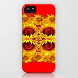 MODERN RED ART &  YELLOW  SUNFLOWERS DESIGN iPhone Case