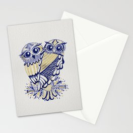 Owls – Navy & Gold Stationery Cards