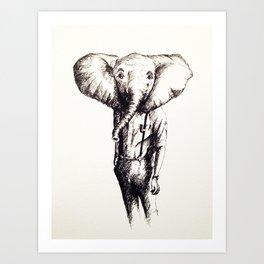 Elephant (Sketch) Art Print
