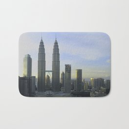 Panoramic view of the Petronas Towers in Malaysia at dusk Bath Mat