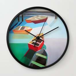 Five Boats Wall Clock