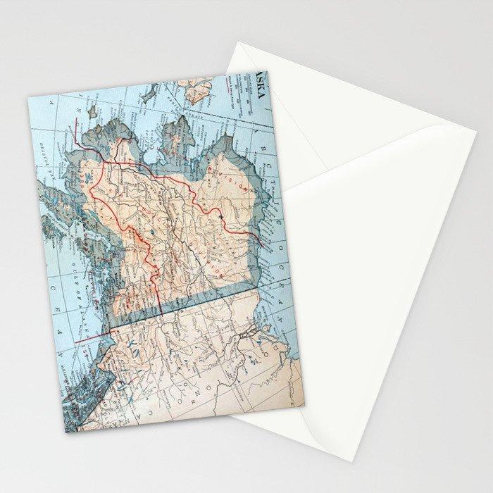 Vintage Map of Alaska (1921) Stationery Cards