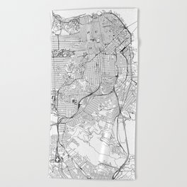 San Francisco White Map Beach Towel