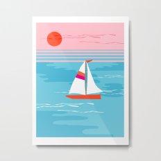 Mellow Out - memphis throwback retro classic neon yacht boating sailboat ocean sea 1980s 80s pop art Metal Print