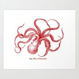 Red Octopus Art Print