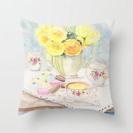 I Love Yellow Roses at Tea Time Throw Pillow