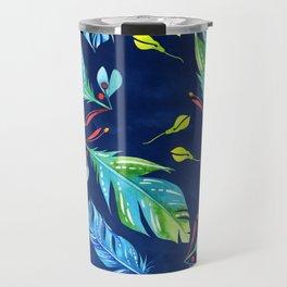 Watercolour Feathers - Indigo Travel Mug