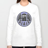 agents of shield Long Sleeve T-shirts featuring Agents of TARDIS Doctor Who Agents of Shield Mash Up by Whimsy and Nonsense
