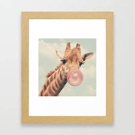 Bubble Gum Giraffe Framed Art Print