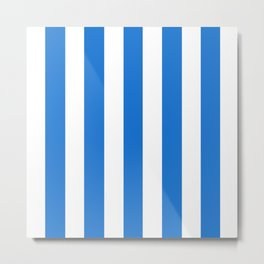 Navy blue (Crayola) - solid color - white vertical lines pattern Metal Print