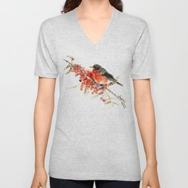 American Robin and Berries Unisex V-Neck