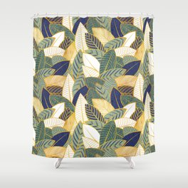 Leaf wall // navy blue pine and sage green leaves golden lines Shower Curtain