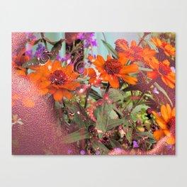 Metallic Zinnias Canvas Print