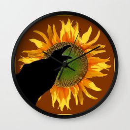 COFFEE BROWN CROW YELLOW SUNFLOWER FLORAL ART Wall Clock