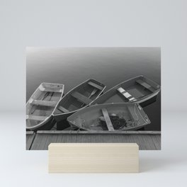Four Skiffs B&W Mini Art Print