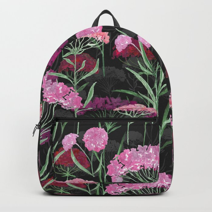 Watercolor rose-red, orange flowers on black background . Backpack