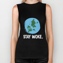 Flat Earth Stay Woke Tshirt Conspiracy Biker Tank
