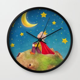 The Little Prince  on a small planet  in  night sky  Wall Clock
