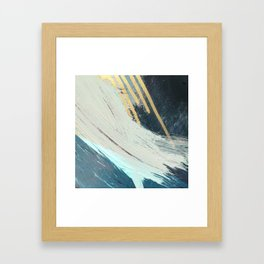 Karma: a bold abstract in blues and gold Framed Art Print