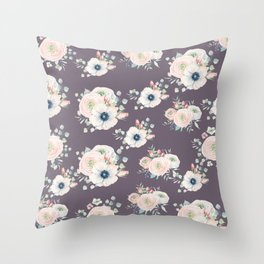 Dog Rose Pattern  Mauve Throw Pillow