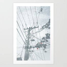 Flowers on the Power Lines Art Print