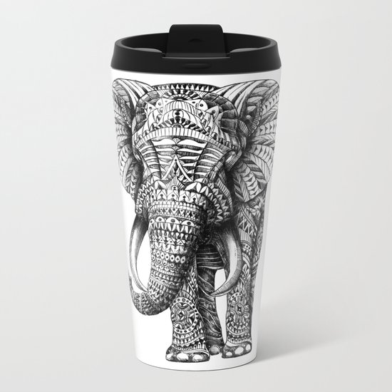 Ornate Elephant Metal Travel Mug