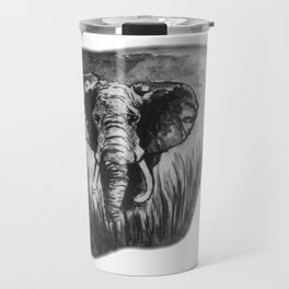 Elephant in tall grass by annmariescreations Travel Mug