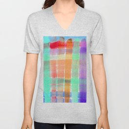 Colorful Watercolor Stripes - Turquoise and Lilac Palette Unisex V-Neck