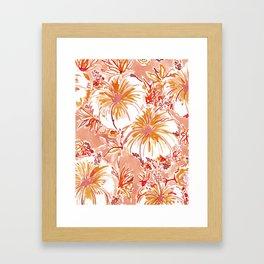 KOMBUCHA-CHA Orange Tropical Hibiscus Floral Framed Art Print