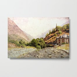 Vintage landscape mountains and river Metal Print